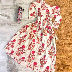 *throwaway price* Maxi Pink Flower White Dress
